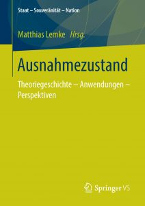 "Cover ""Ausnahmezustand. Theoriegeschichte - Anwendungen - Perspektiven."